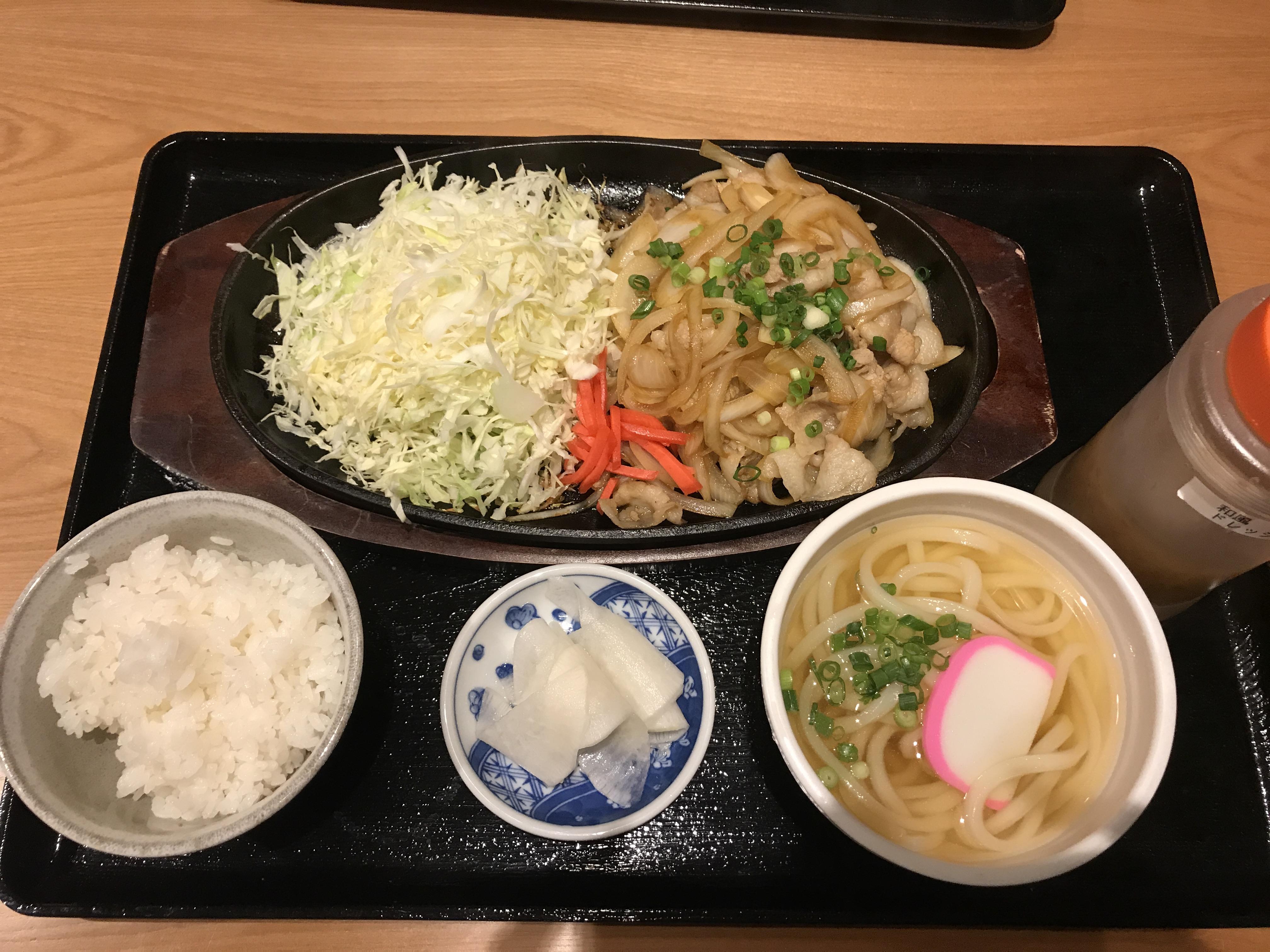 けんこううどん豚生姜焼き定食1